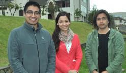 Daniel Llanos, Danae Núñez y Octavio Abello (izq. a der.) son los candidatos que buscan la presidencia de la próxima FEUCSC.