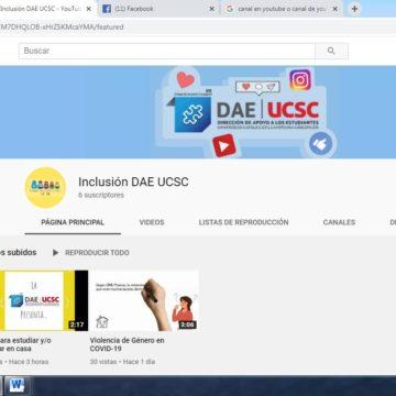 Unidad de Inclusión Estudiantil cuenta con canal de YouTube para abordar temas de género y discapacidad