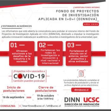 Fondo DINNOVA apoya proyectos asociados a problemática Covid-19